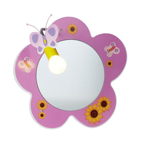 Novelty Childrens Flower Mirror Wall Light, Pink (Double Insulated) Bx0124Pi-17